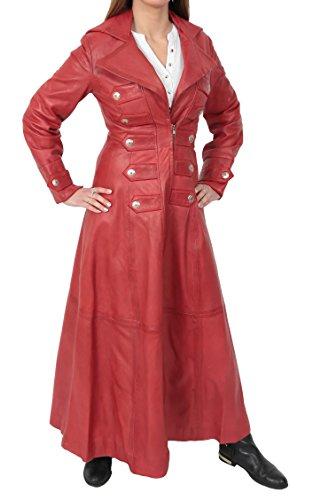 Mujer Longitud Completa Largo Abrigos de Cuero Militar Estilo Gótico Kourtney Rojo