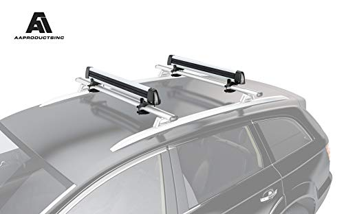 (AA Products 33'' Aluminum Universal Ski Roof Rack Fits 6 Pairs Skis or 4 Snowboards, Ski Roof Carrier Fit Most Vehicles Equipped Cross Bars)