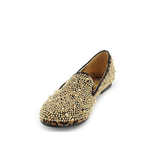 Shiekh Womens Flat Flat Casual Casual Leopardato / Oro