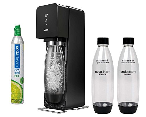 SodaStream Source Sparkling Water Maker Starter Kit with 1-60L CO2 carbonator and 3 Pcs. 1l Reusable Carbonating Bottles. Turn tap into Sparkling Water in Seconds!
