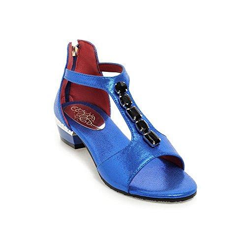 Allhqfashion Donna Open Toe Con Cerniera Pu Tacco Basso Sandali Blu