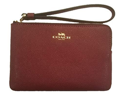Coach Crossgrain Leather Corner Zip Wristlet Cherry