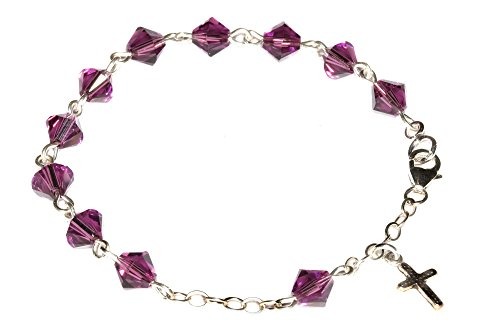 (Child Rosary Bracelet Made w/Amethyst Purple Swarovski Crystals (February) - Communion, Confirmation, RCIA, Birthday & More)
