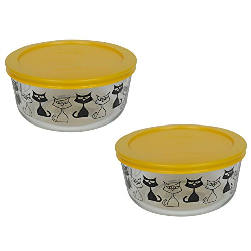 (2) Pyrex 7201 4 Cup Black Cat Glass Bowls & (2) 7201-PC Butter Yellow Plastic Lids (Cat Bowl Retro)