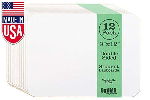 - OptiMA 9x12 Double Sided Student Dry Erase Lap Boards (12 Pack)