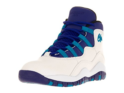 Nike Jordan Kids Jordan 10 Retro Bp White/Concord Blue Lagoon Black Basketball Shoe 11 Kids US (Jordan Shoes Retro 11 Kids)