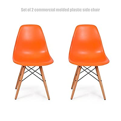 Classic Vintage Style Dining Chair Molded Plastic Flexible Backs Support Deep Seat Pockets Straight Wooden Dowel Legs Innovative Side Chair - Set of 2 Orange #1444