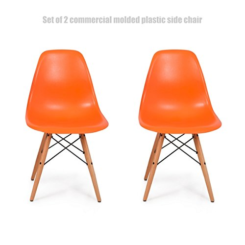 Classic Vintage Style Dining Chair Molded Plastic Flexible Backs Support Deep Seat Pockets Straight Wooden Dowel Legs Innovative Side Chair - Set of 2 Orange - Adjustment Glasses Me Near