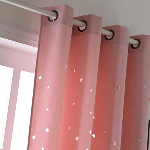Taisier Home Baby Pink Laser Out Stars Window Curtains for Children - Star Stamp Cut Room 63 Inch Curtain Draperies for Girls Room,Girly Room Décor Grommet Top Style(Set of 2 Panels,Denim Colored)
