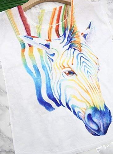 FUTURINO Womens Dream Mysterious Horse Print Short Sleeve Tops Casual Tee Shirt