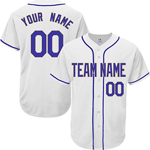 White Customized Baseball Jersey for Women Full Button Embroidered Team Player Name & Numbers,Royal Blue-Gold Size M