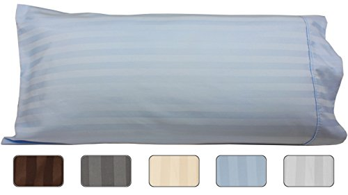 Body Pillowcase, 100% Egyptian Cotton, 540 Thread Count, 21x60 Pillow Cover, Striped With Wrinkle Guard by American Pillowcase, Fits 20x54, Light Blue (Cover Cotton 100% Pillow)