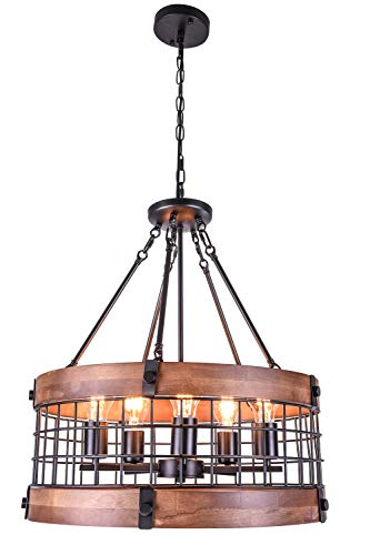 Vintage Industrial Wooden Chandelier with 5-Light Retro Wood Iron Cage Penadnt Light Drum Shape Farmhouse Ceiling Light