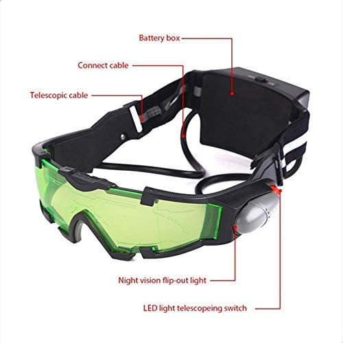 Lunettes de Verre /à Vision Nocturne /à LED r/églables Moto Moto Course Lunettes de Chasse Lunettes De Vue avec Coupe-Vent L/éger Coupe-Vent Vert /& Noir