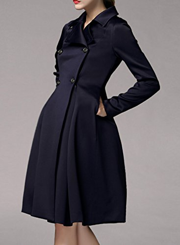 Azbro Women Double Breasted Turn Down Collar Slim Fit Trench Coat, Navy XL