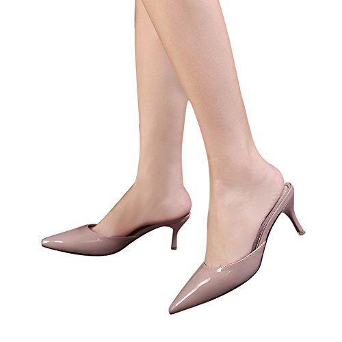 Womens Glossy Mule Sandals Slide Slippers Pointed-Toe Stiletto High Heel Slip On Pumps Nude Pink 81XIS6dyg