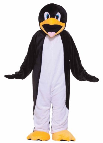 The Penguin Costumes (Forum Deluxe Plush Penguin Mascot Costume, Black/White, One Size)