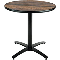 KFI Seating Round Pedestal Table with Arched X Base, Commercial Grade, 36-Inch, Walnut Laminate, Made in the USA