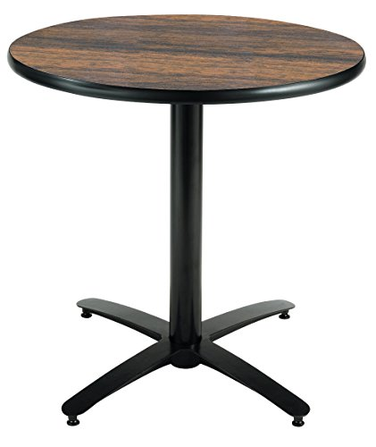KFI Seating Round Pedestal Table with Arched X Base, Commercial Grade, 36-Inch, Walnut Laminate, Made in the USA by KFI Seating