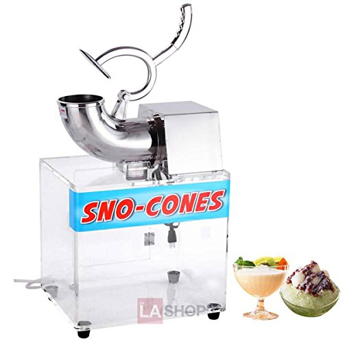 250W 110v Stainless Steel Electric Crusher Snow Cone Maker Ice Shaver Machine 440lbs/hr w/ Powerful Motor Acrylic Box Case for Commercial Home Cafes Restaurants Food Court Cold Drinks