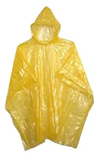 4 YELLOW WATERPROOF DISPOSABLE PONCHOS MACS FOR OUTDOOR EVENTS