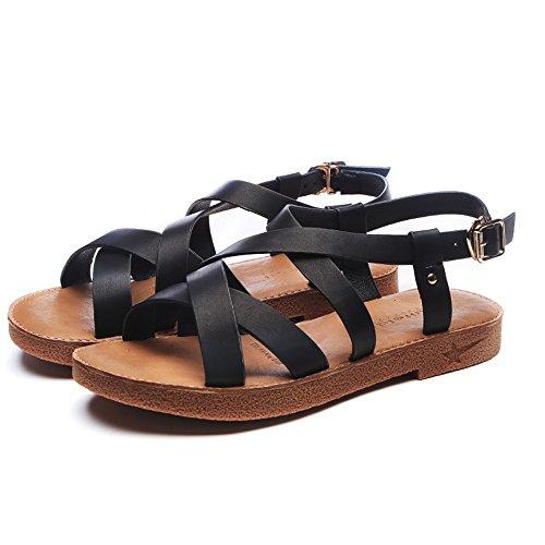 CN40 coreane donna dimensioni Giallo estive sandali EU39 UK6 con da 5 donna da Slipper Colore romani CAICOLOR Nero Scarpe pXxOTI