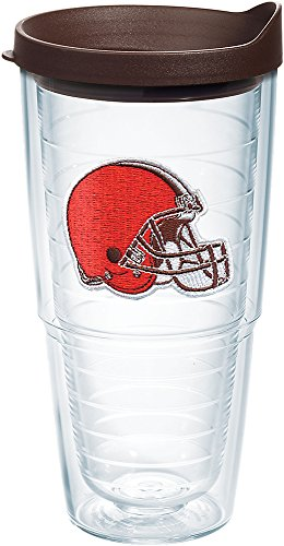 (Tervis 1198348 NFL Cleveland Browns Primary Logo Tumbler with Emblem and Brown Lid 24oz, Clear)