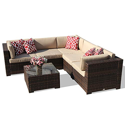 6 Piece Patio Furniture Outdoor Sectional Set, All Weather PE Brown Wicker Patio  Set Sofas