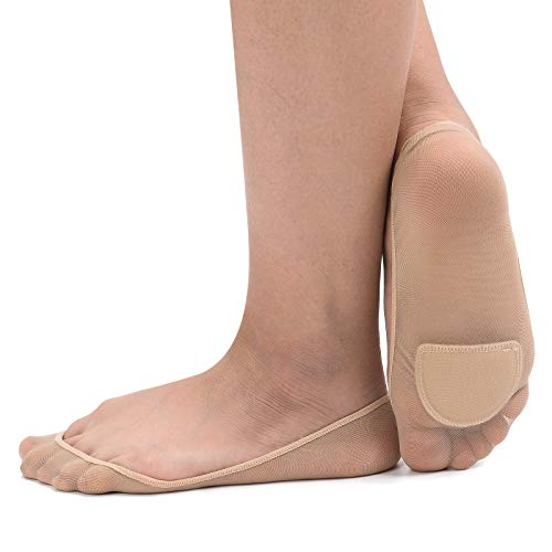 Women's 4 Pairs Sheer No Show Socks Ultra Low Cut Padded Non Slip for Flats (Beige) ()