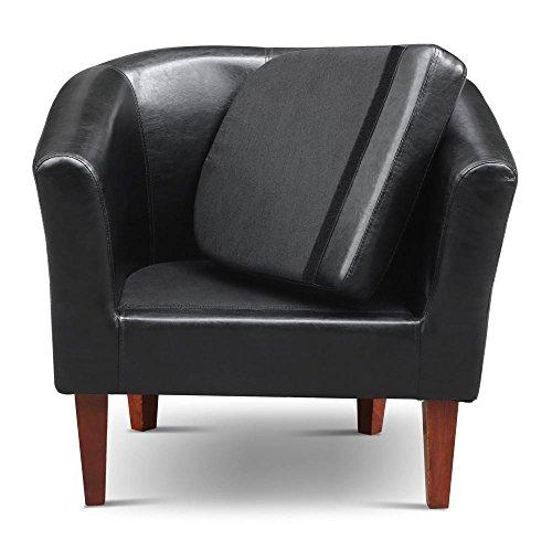 Yaheetech Modern Contemporary PU Leather Tub Barrel Club Arm Chair Seat Furniture W/ Cushion (Black)
