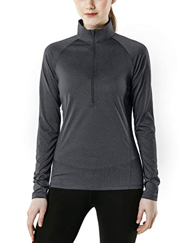 - TSLA Women's Half Zip HyperDri Track Pullover Running Cool Dry Active Sport Shirt Top, Pullover Halfzip(fkz04) - Heather Charcoal, Small