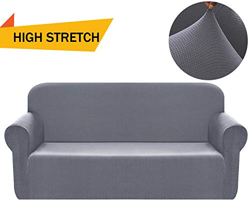 Chelzen Stretch Sofa Covers Polyester Spandex Fabric Couch Slipcovers (Sofa, Light Gray) (Sectional Sofas Cool)