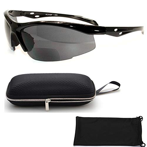 (Black Fashion Style Bifocal Sport Safety Glasses UV Protection Sun Readers 1.75 )