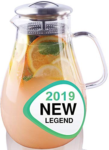 Glass Water Pitcher with Lid - Beverage Glass Carafe for Juice Lemon Water Iced Tea - Glass Pouring Pitcher Infuser with Handle and Strainer - 64 Ounce Large Capacity Spout Jug