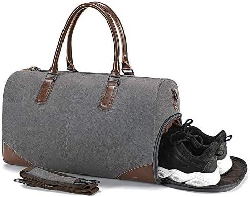 AMAZACER ホールドオールトラベルDufflesバッグ - 15インチラップトップスリーブと靴コンパートメント、オーバーナイトバッグウィークエンドバッグラージフライトバッグキャンバストートバッグショルダー男性の女性のためのバッグハンドバッグ、グレーと (Color : Grey)