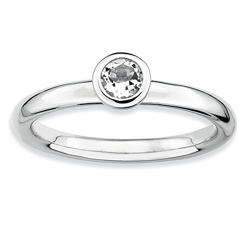 Stackable Low Profile 4mm White Topaz Silver Ring, Size - Topaz Bow