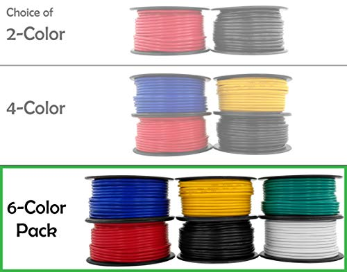 (12 Gauge, 6 Rolls of 100 Feet (600 ft Total) Primary Wire. CCA Cable for Car Audio Stereo Radio Amplifier Remote Automotive Drone Wiring | Also Available in 2 & 4 Color Combo )