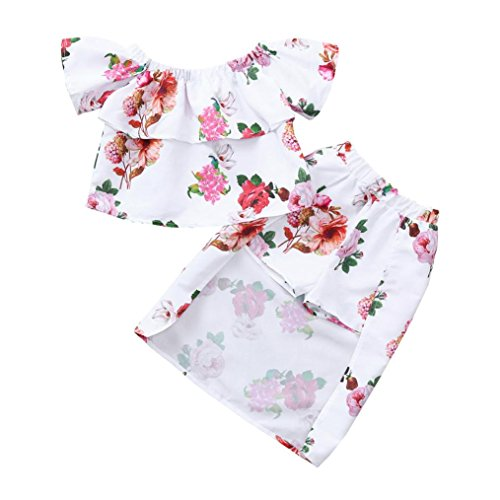 (Rucan 2PCS Toddler Baby Girl Clothing Set Off Shoulder Floral Print Tops+Shorts Skirt Outfit (White, 2-3 Years))