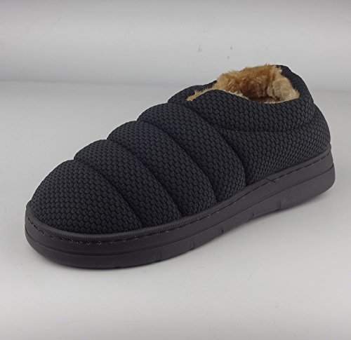 Sfnld Hombres Mujeres Unisex Winter Fleece Forrado Clog House Slipper Negro