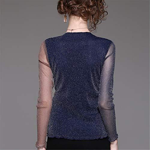 Manches Femmes Assorti En shirt Longues Xlnsmz Pour Marron À Perspective T Bleu zqnft