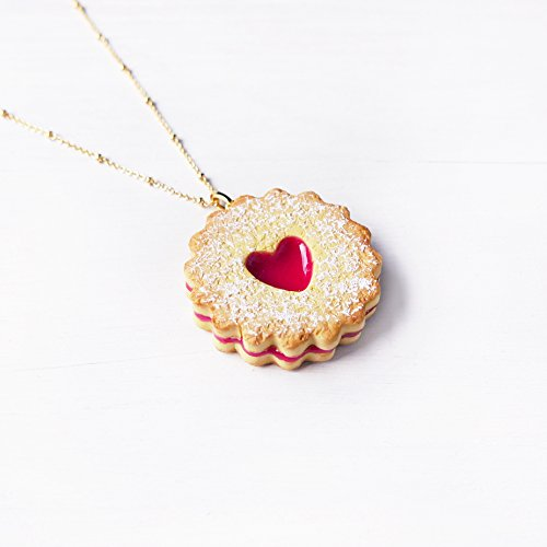Elfi Handmade Cute Heart Shape Jam Cookie Necklace, Marmalade Biscuit Jewelry, Linzer Heart Jewelry ,Kawaii,perfect for Christmas gift