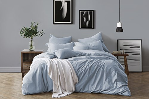 Swift Home 100% Cotton Washed Yarn Dyed Chambray Duvet Cover & Sham Bedding Set, Ultra-Soft Luxury & Natural Wrinkled Look - Full/Queen, Chambray (Blue Full Duvet)