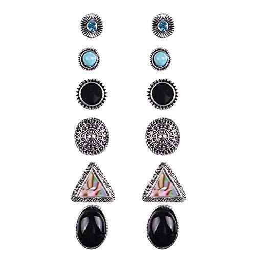 (qsbai Rhinestone Turquoise Earrings Set Women Vintage Boho Triangle Round Shape Earring 6 Pairs)