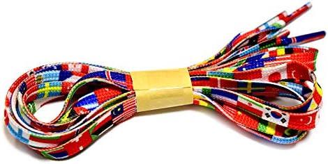 LA-007-120 【4柄展開】【靴ひも シューレース】【120cm】【0.8cm幅】 平ヒモ 世界の国旗 タイダイ 迷彩柄のシューレース 2本入り(1足分)/平紐