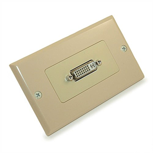 MyCableMart Wall Plate: DVI-I Female/Female 1 Port Decora Style, Gold Plated, Ivory ()