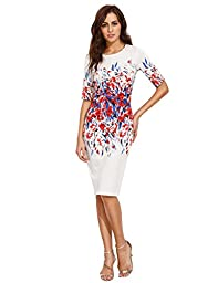 Floerns Women\'s Floral Short Sleeve Flower Print Bodycon Pencil Dress (Large, Multi-white)