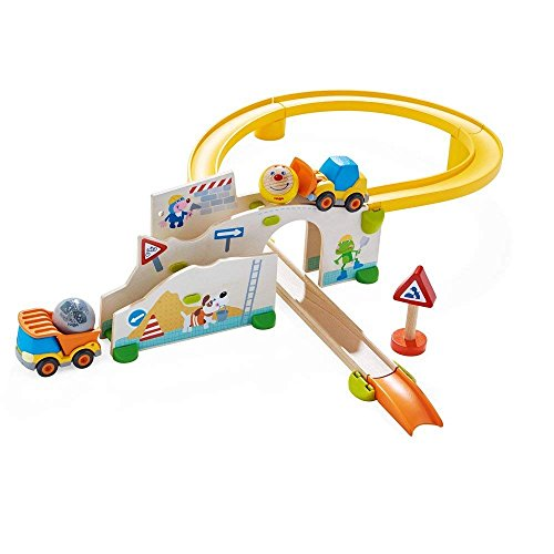 HABA Kullerbu at The Construction Site Play Track – 13 Piece Starter Set with 2 Vehicles and Fascinating Ball Drop…