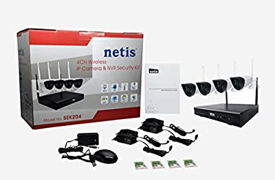 Netis 4 Channel Wireless IP Cameras NVR Security System Kit, 2 5dBi Antenna, 720P HD Day/Night Vision (SEK204)