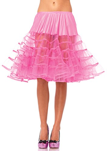 Leg Avenue Women's Knee-Length Petticoat Dress, Neon Pink, One Size