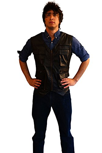 Jurassic World Leather Adventure Vest Costume Chris Pratt Vest, Navy Brown Med (World Explorer Costume)